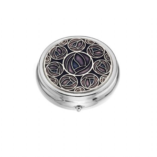 Large Pill Box Silver Plated Mackintosh Rose Roses Purple Brand New & Boxed